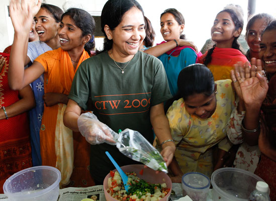 Women serving food
