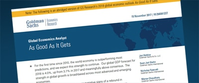 2018 Global Economic Outlook: As Good As It Gets